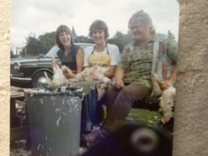 Me,, Liz and Heather plucking chickens :-)