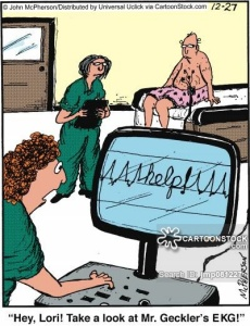 'Hey, Lori! Take a look at Mr. Geckler's EKG!'